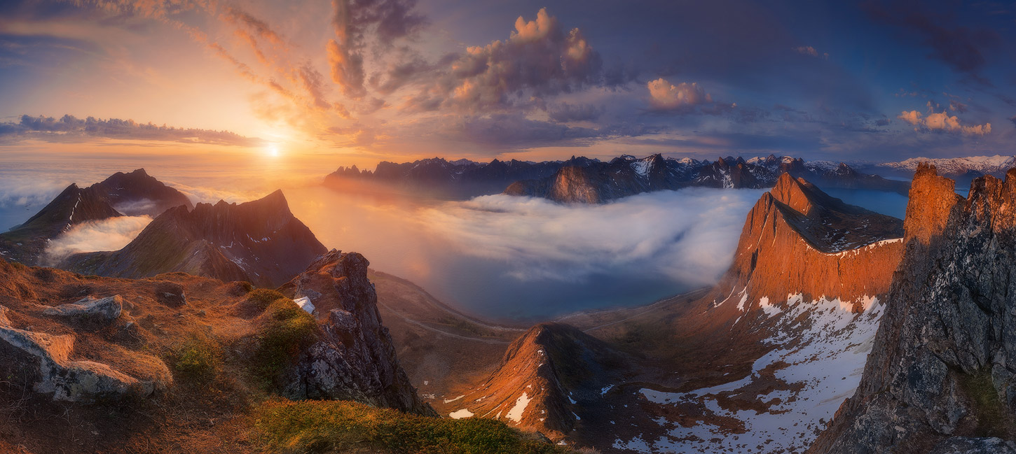 Norway. The island of Senia. Panorama from Mount Husfjellet to the fjord of Steinfjorden and Teeth of the Devil, © Aleksandr Naumenko, Ukraine, Landscape — daytime Nomination, 2 place, 35AWARDS Photo Contest