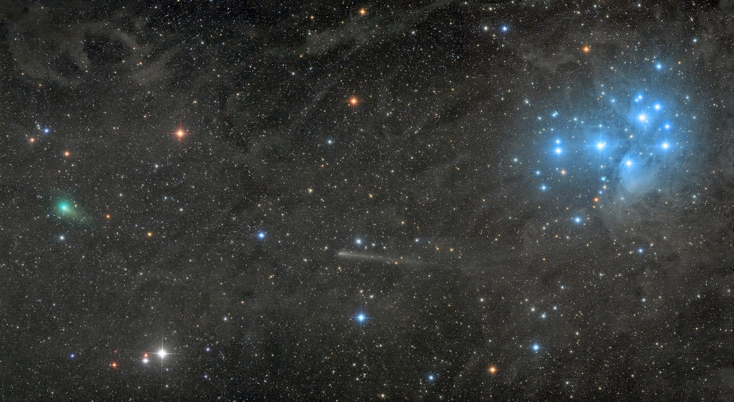 Two comets with the Pleiades, © Damian Peach, Robotic Scope Prize Winner, Astronomy Photographer of the Year