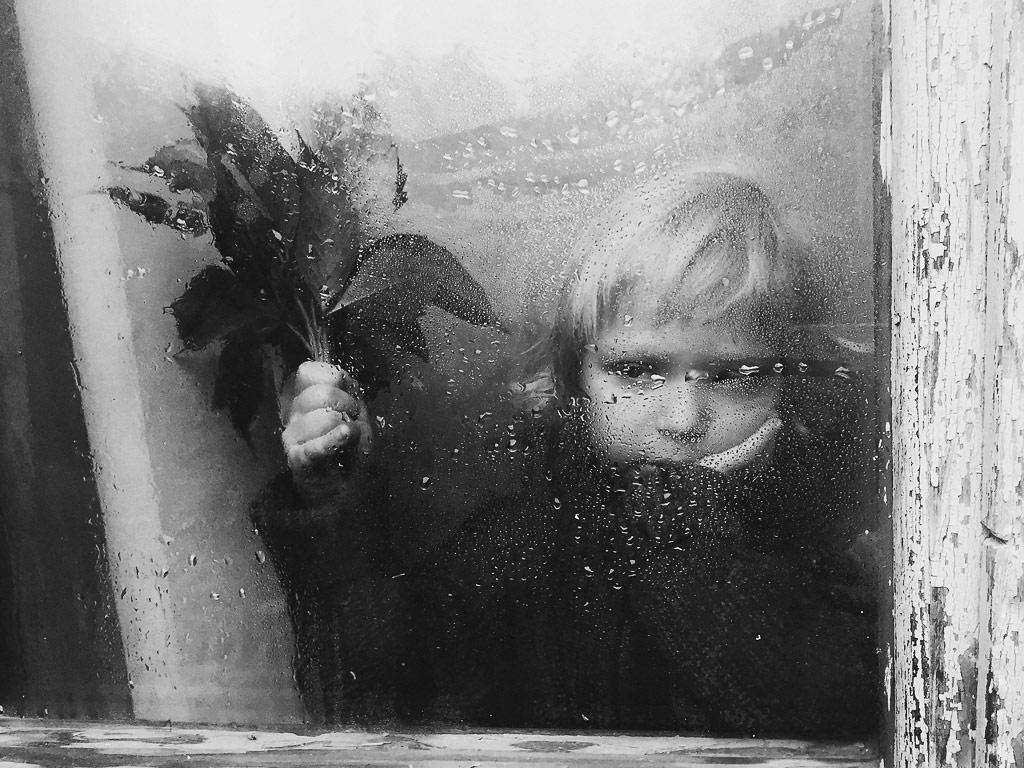 Rainy, © Irina Sirotova, Russia, 2nd Place, B&W Child Photo Contest