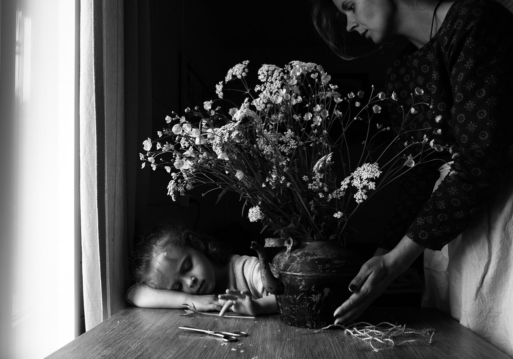 Buttercups, © Maria Prozorova, Russia, 3rd Place, B&W Child Photo Competition