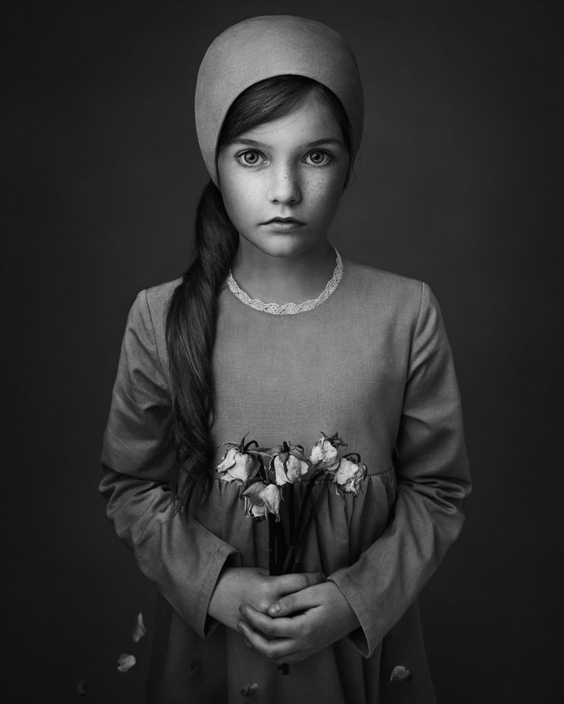 When the Flowers Die, © Lisa Visser, UK, 3rd Place in the Fine Art Category, 1st Half, B&W Child Photo Contest