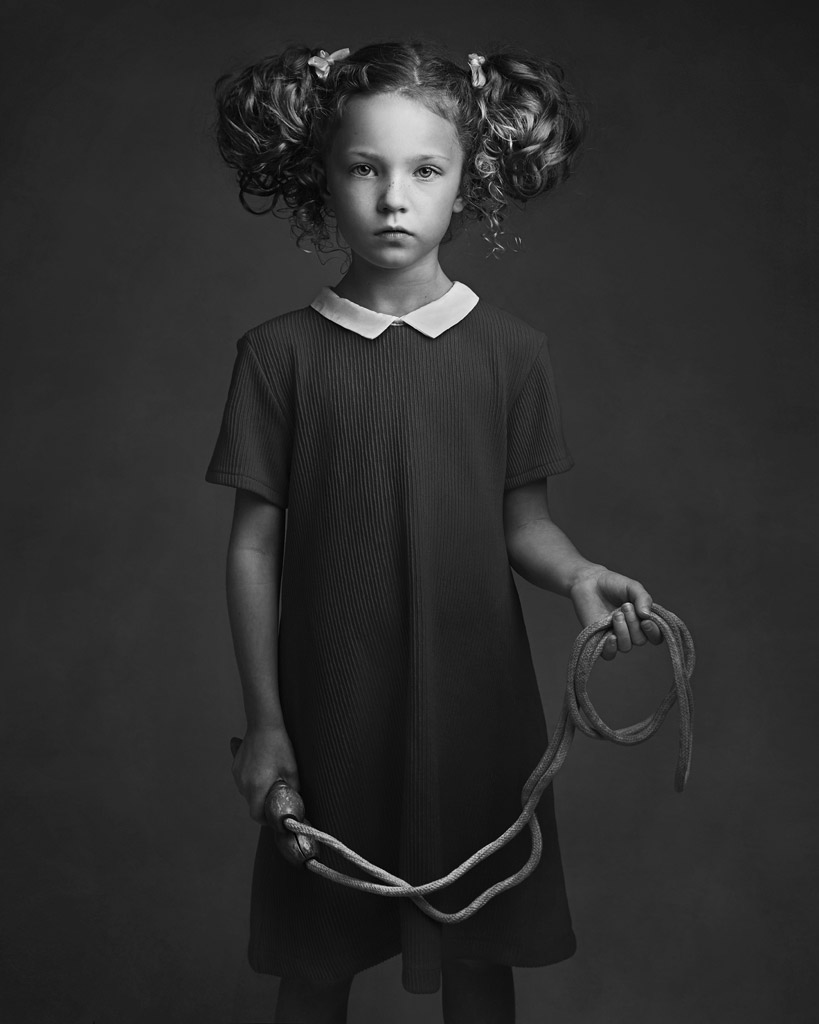 The Skipping Rope, © Lisa Visser, UK, Honorable Mention in the Portrait Category, 2nd Half, B&W Child Photo Contest