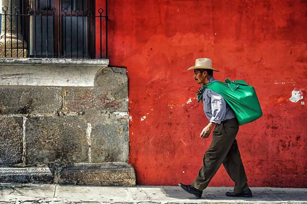 © Eduardo Teixeira de Sousa, 0900 Hourly Winner. Red Wall, Photo Location: Antigua, Guatemala, CBRE Urban Photographer of the Year