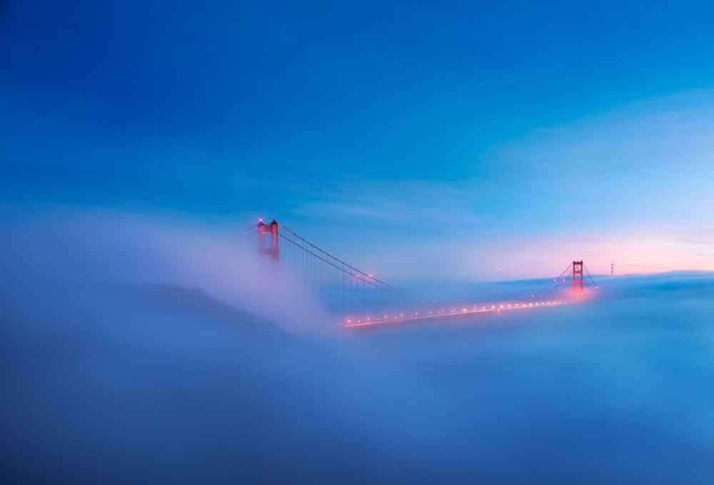 © Stan Pechner, 1700 Hourly Runner Up. Low Fog Golden Gate Bridge, Photo Location: San Francisco, United States, CBRE Urban Photographer of the Year