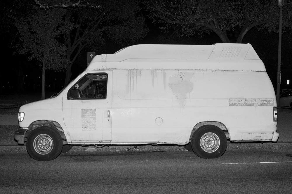 """White Van, National Mall "". Project: White Vans & Black Suburbans, © Mike Osborne, Austin, TX, Center — Review Santa Fe 2017"