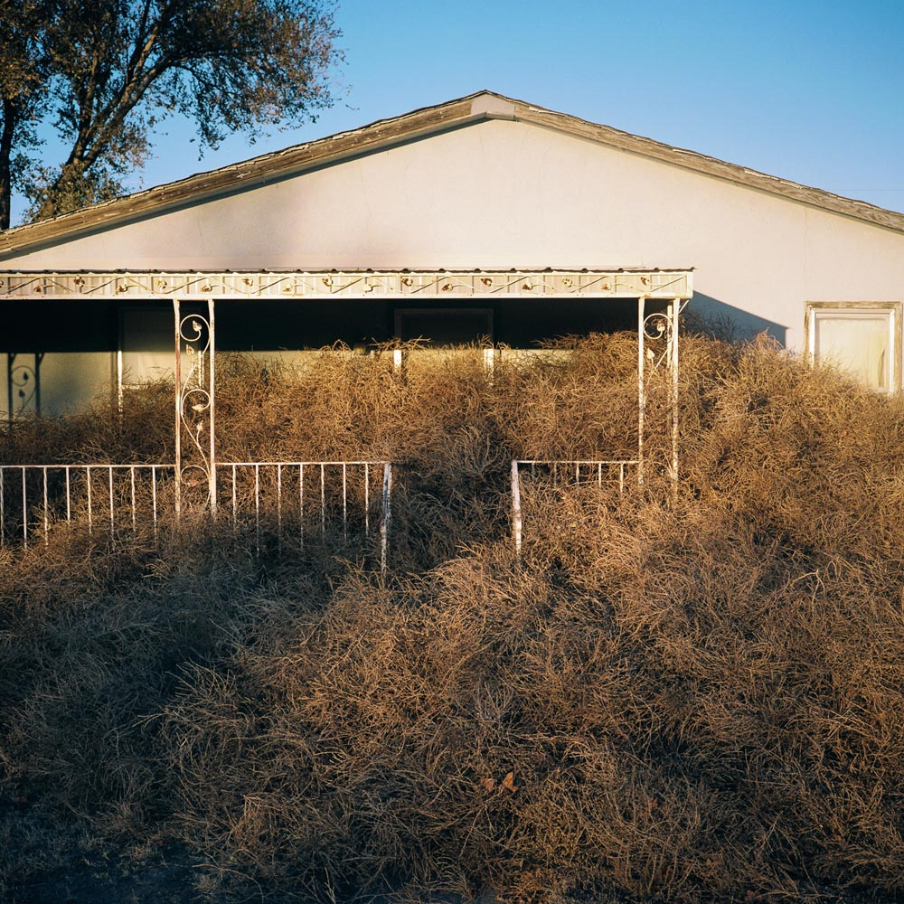 """A house buried in tumbleweeds. Eads, Colorado."". Project: The Tumbleweed, © Theo Stroomer, Denver, CO, Center — Review Santa Fe 2017"