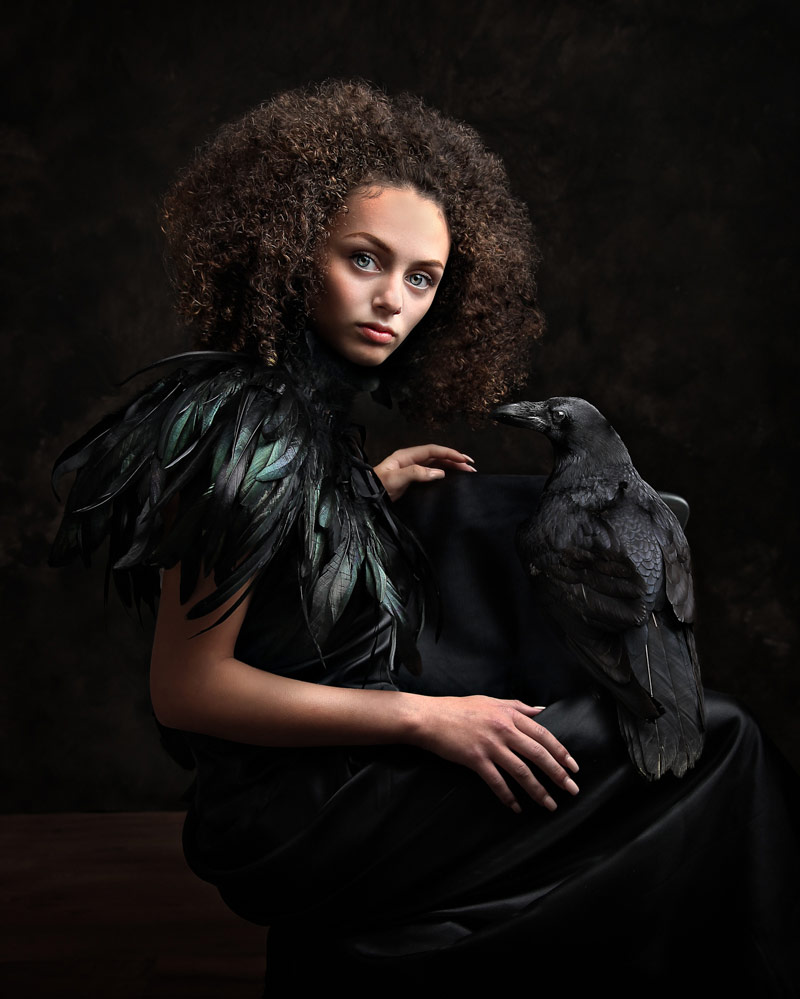 The girl and her raven, © Rachel Stewart, UK, November 2018 Winner, CPC Portrait Awards - Photo Competition for Child Portrait Photographers