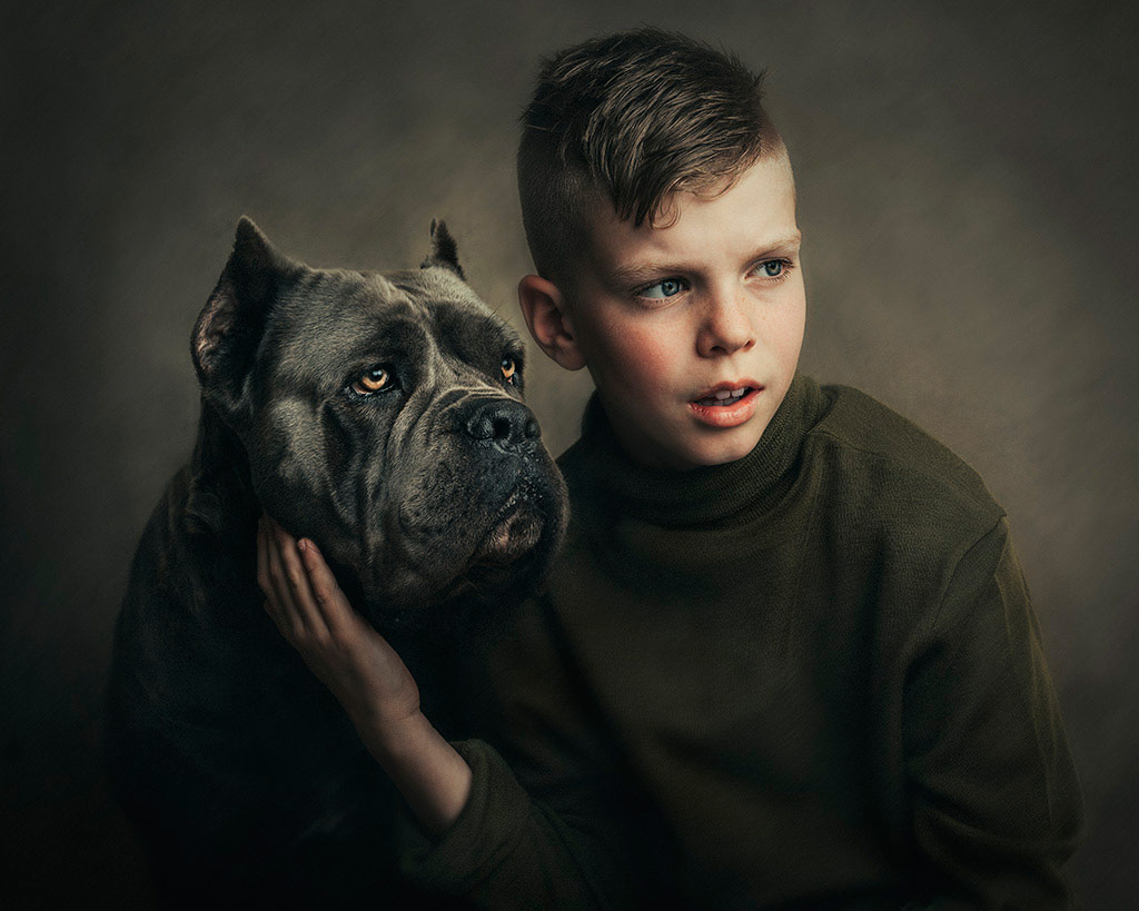 Kadinand Cane Corso, © Lizzie Gilmour from New Zealand, December 2018 Winner, CPC Portrait Awards - Photo Competition for Child Portrait Photographers