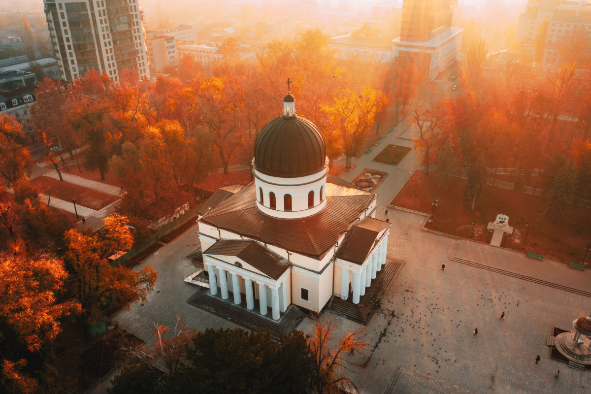 Sunrise in Chisinau Central Park, Chisinau, Moldova Republic, © Calin Stan, Dronestagram Drone Photography Contest