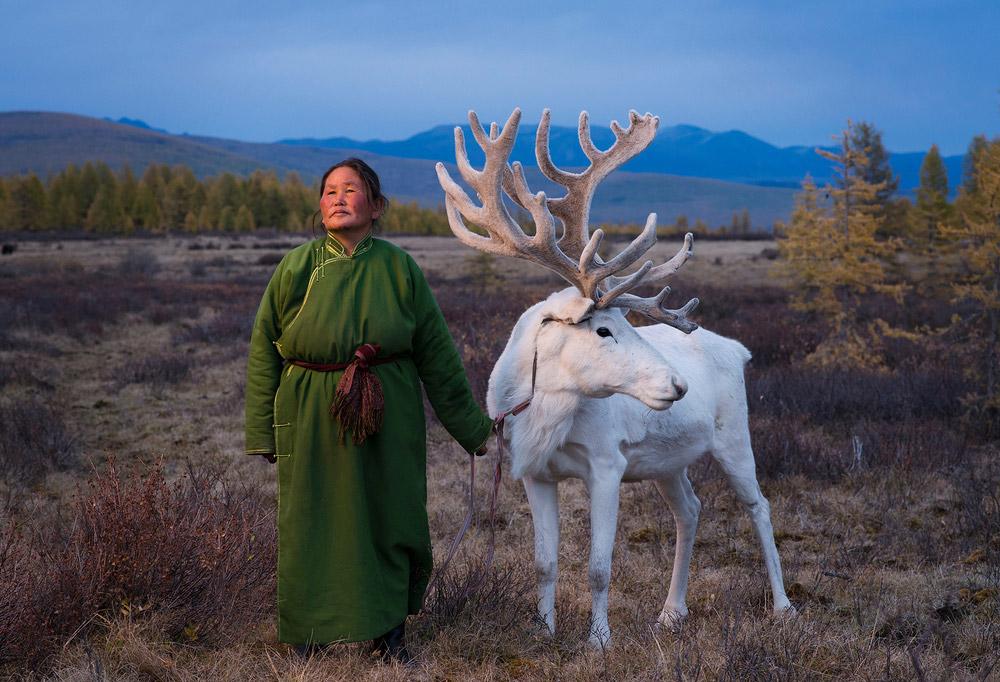 Tsaatan Woman with Reindeer, © Madoka Ikegami, China, Finalist, LensCulture Portrait Awards
