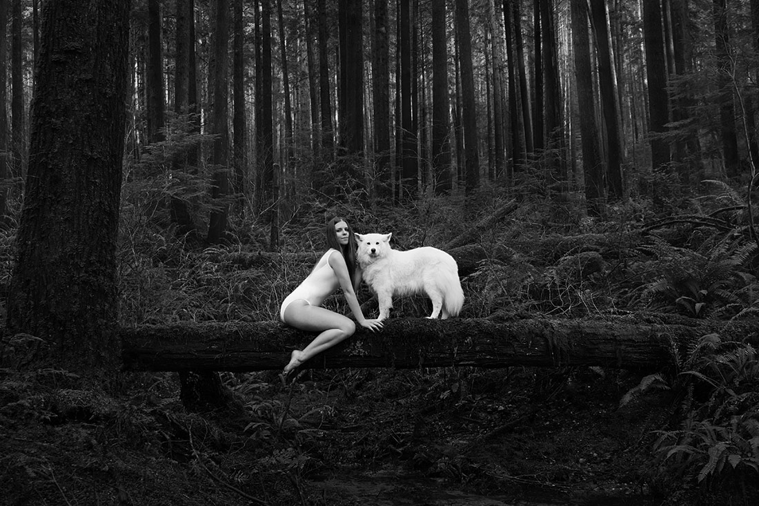 Woman + Wolf, © Melissa Amber + River Lee, Canada, 1st Place - Black & White Conceptual Series Of The Year 2017, MonoVisions Photography Awards