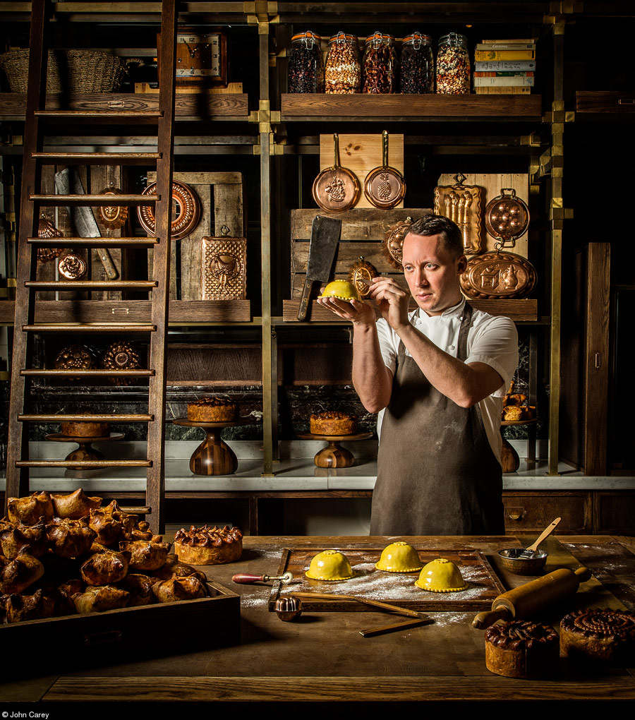 Calum in his Pie Room, © John Carey, United Kingdom, 1st Place, The Philip Harben Award for Food in Action, Pink Lady Food Photographer of the Year