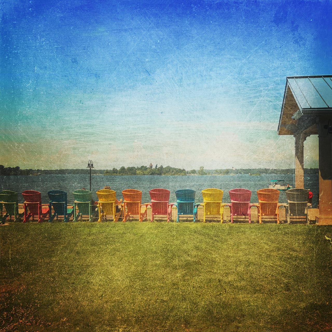 Chairs by the St. Lawrence, © Wendy P. Osborne, Syracuse, NY, Santa Fe Photographic — Summer vacation