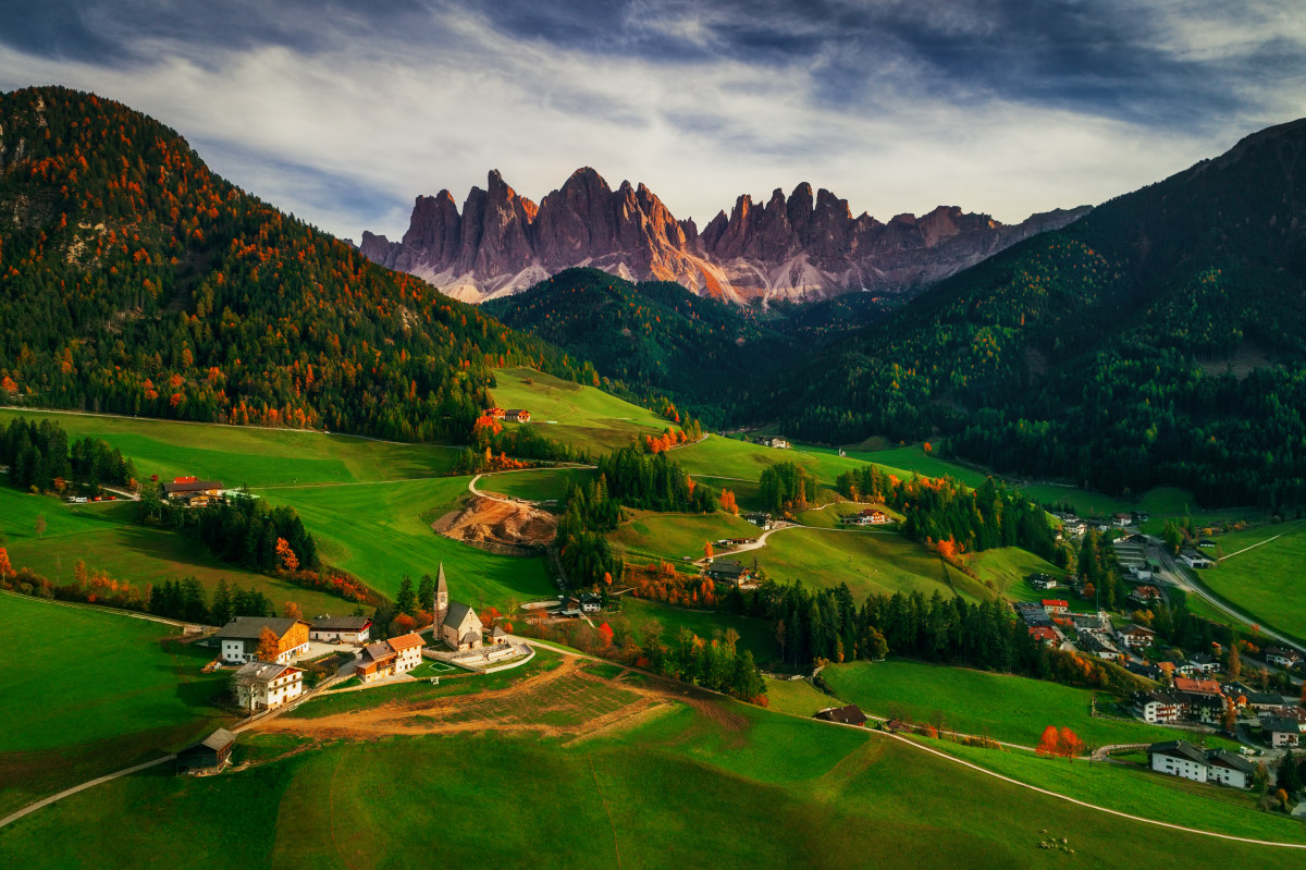 Santa Maddalena village in front of the Geisler or Odle Dolomites Group, Val di Funes, Trentino Alto Adige, Italy, Europe, © Valentin Valkov, Second Prize Landscape Professional Group, SkyPixel Photo Contest