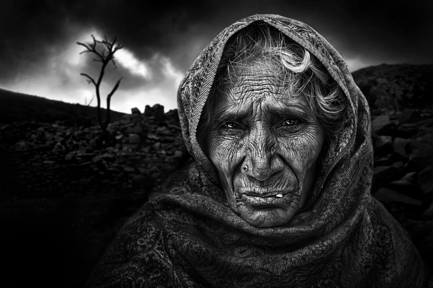 Infinite Sadness, © Luis Maria BARRIO, 2nd Place, Non-Professional - Fine Art and Open, Zebra Awards - TZIPAC Black and White Photographer of the Year