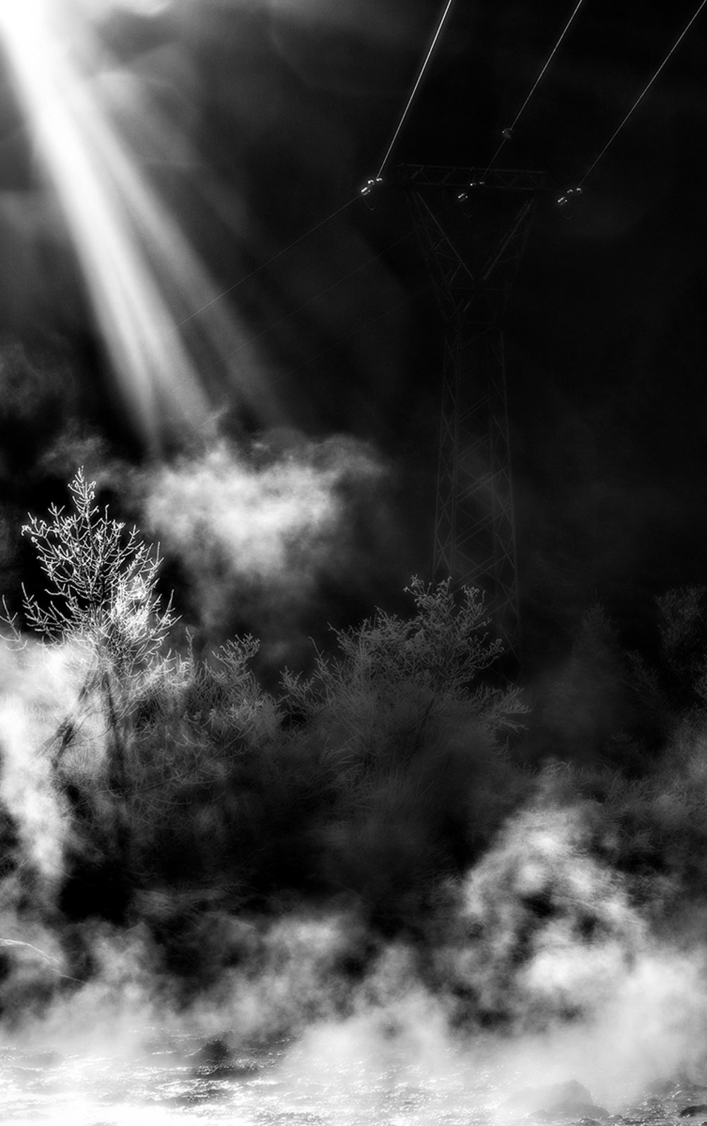 Graphisms of winter lights in Valcellina, © Stefano CIOL, 1st Place, Professional - Fine Art and Open, Zebra Awards - TZIPAC Black and White Photographer of the Year